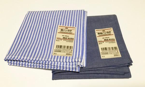 シャツの素材で作ったハンカチも店舗限定アイテム